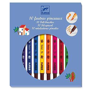 10 rotuladores pinceles +6Y LOS COLORES Djeco classic