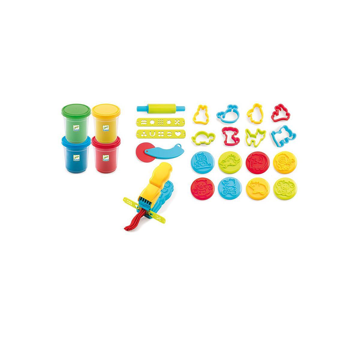 4 botes-21 herramientas plastilina +2Y MOLDEAR Djeco
