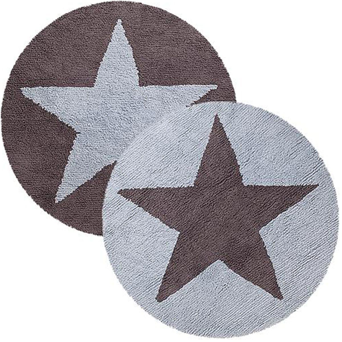 Alfombra redonda 140cm réversible STARS Lorena Canals blue-dark grey
