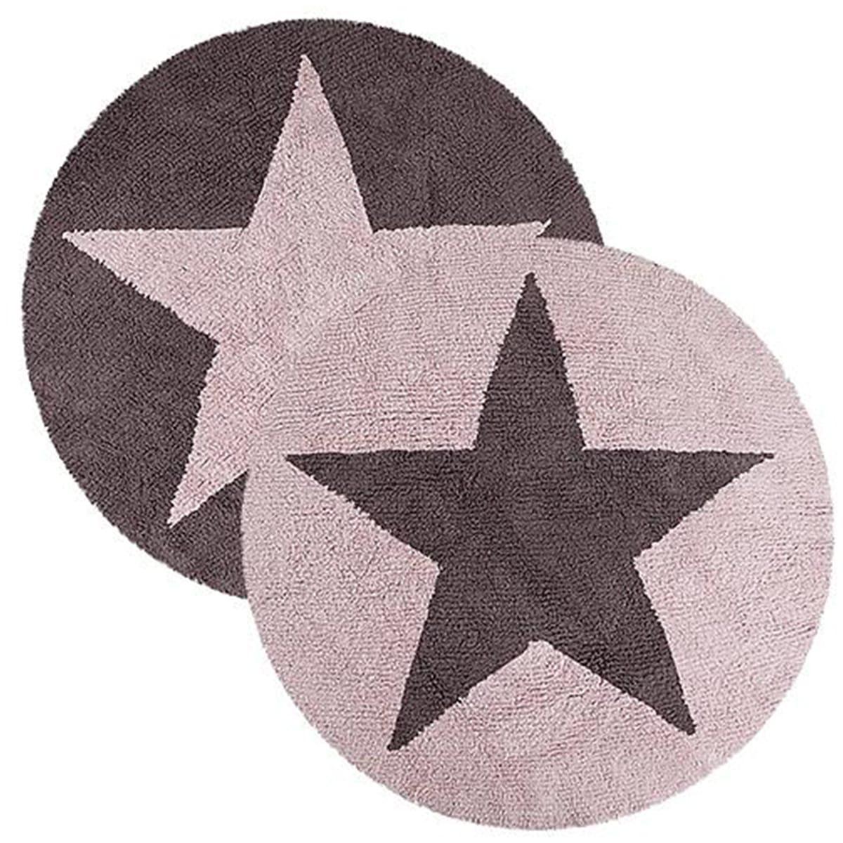 Alfombra redonda 140cm réversible STARS Lorena Canals pink-dark grey