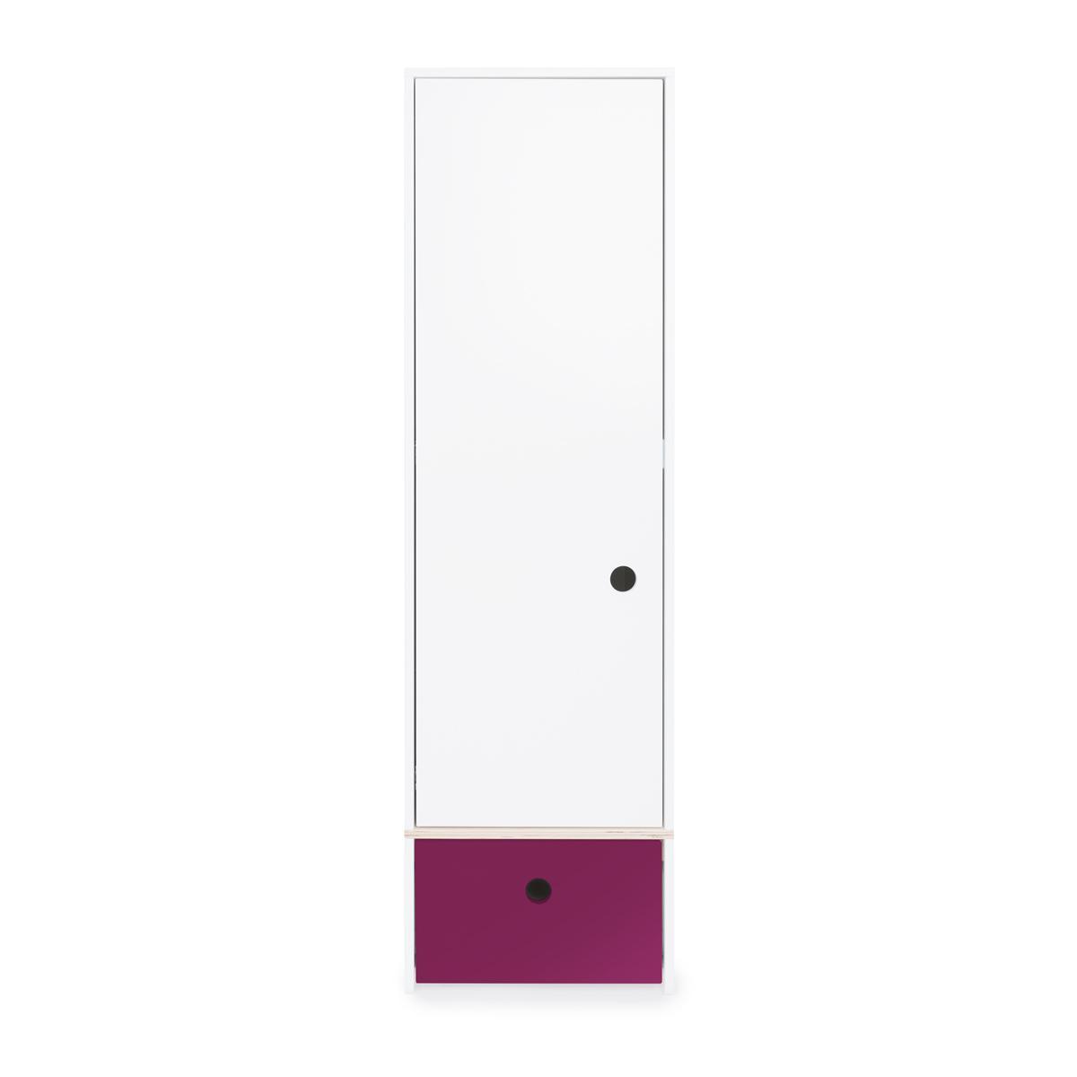 Armario 1 puerta COLORFLEX cajón frontal plum
