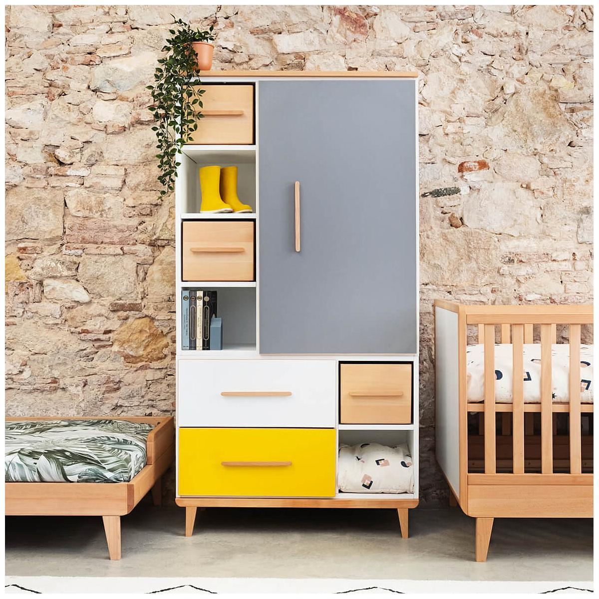 Armario 173cm 1 puerta 2 cajones NADO slate grey-mint-sunshine yellow