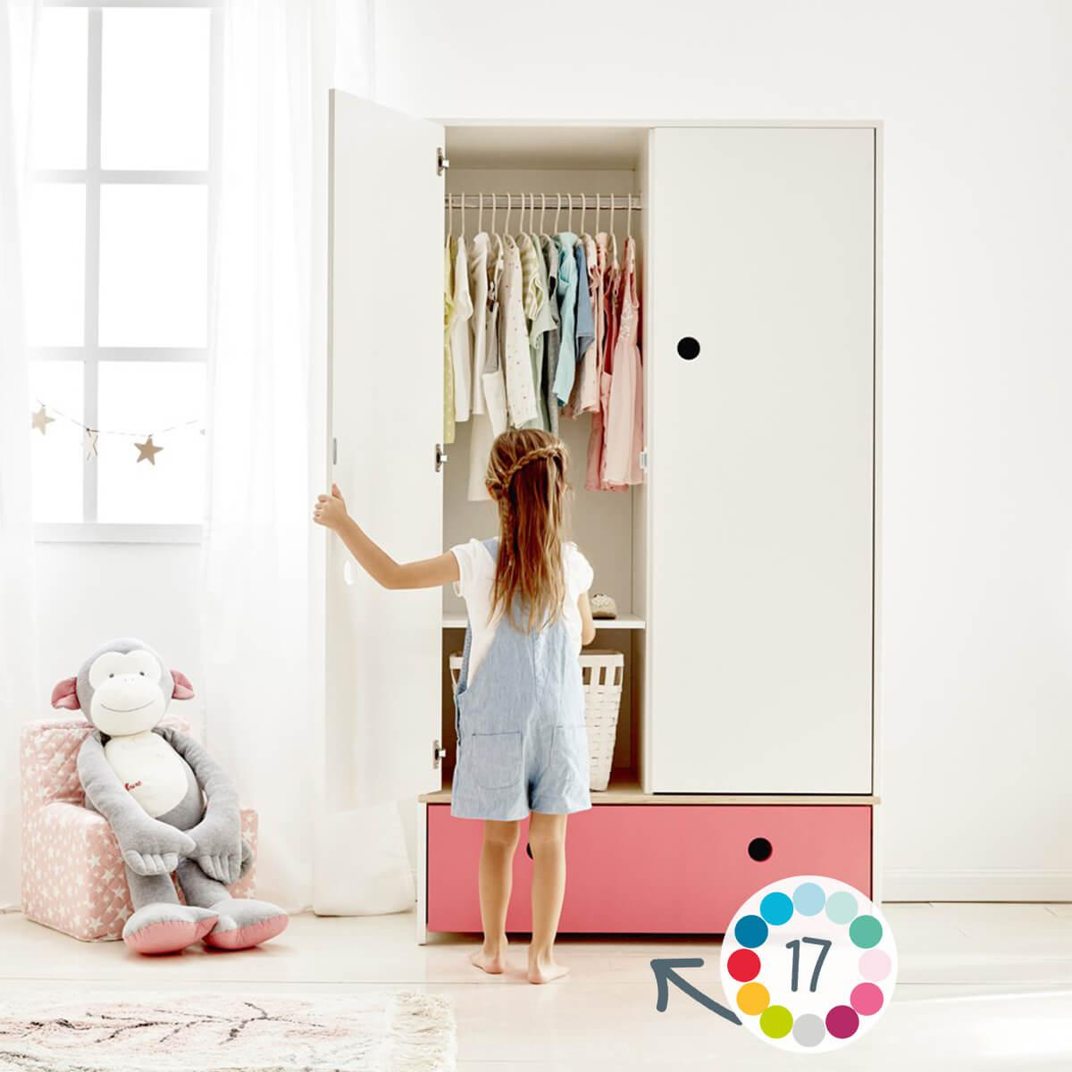 Armario 2 puertas COLORFLEX Abitare Kids cajón frontal sweet pink