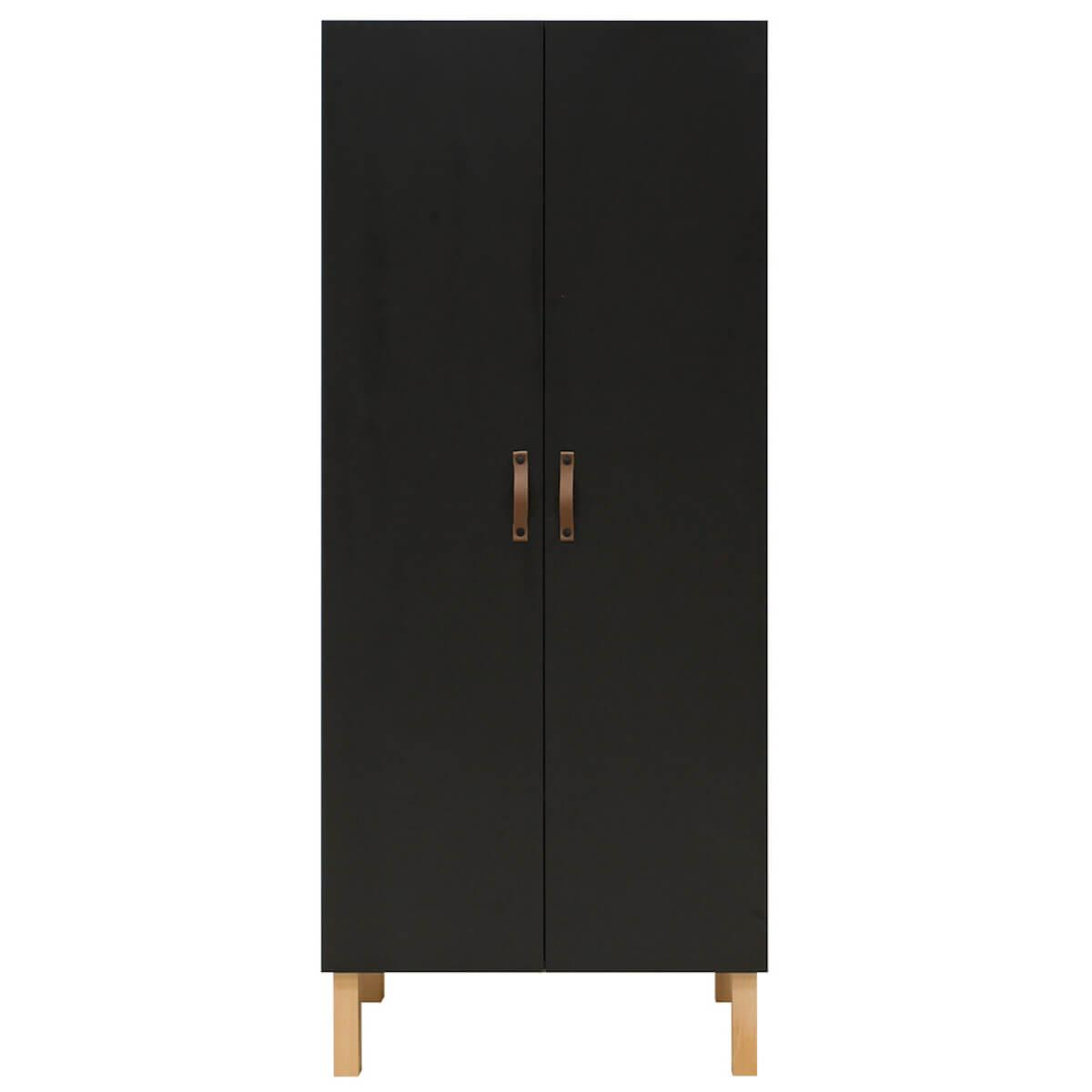 Armario 2 puertas FLORIS Bopita negro mate-natural