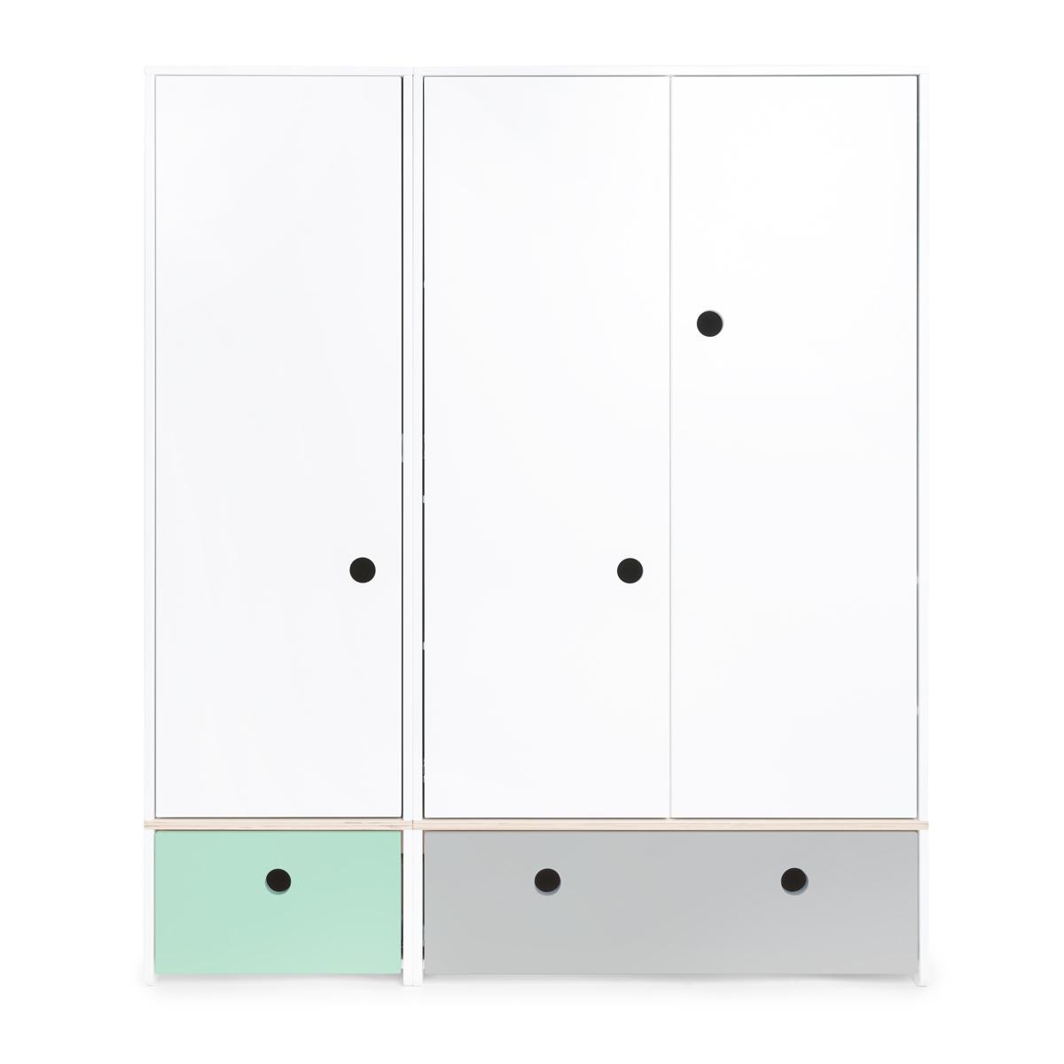 Armario 3 puertas COLORFLEX Abitare Kids cajones frontales mint-pearl grey