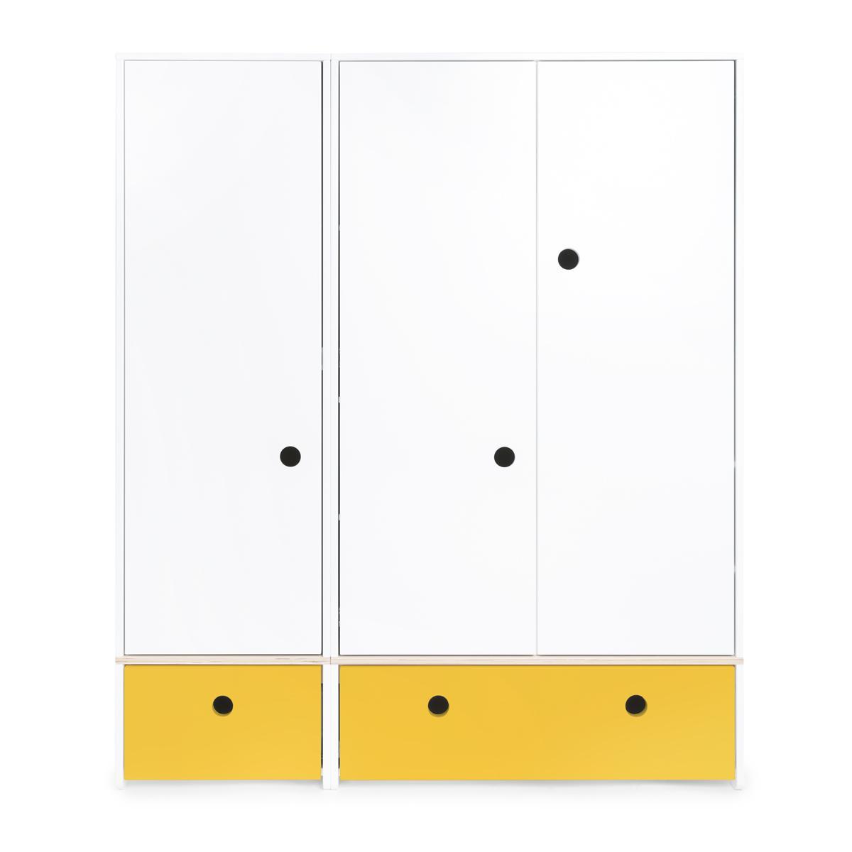 Armario 3 puertas COLORFLEX Abitare Kids cajones frontales nectar yellow