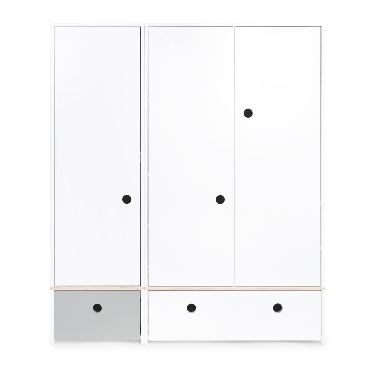 Armario 3 puertas COLORFLEX Abitare Kids cajones frontales pearl grey-white