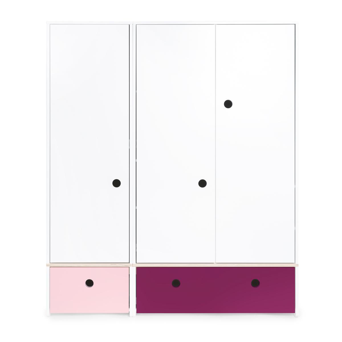 Armario 3 puertas COLORFLEX Abitare Kids cajones frontales sweet pink-plum