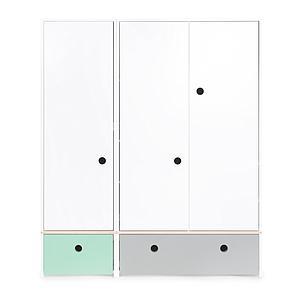 Armario 3 puertas COLORFLEX cajones frontales mint-pearl grey