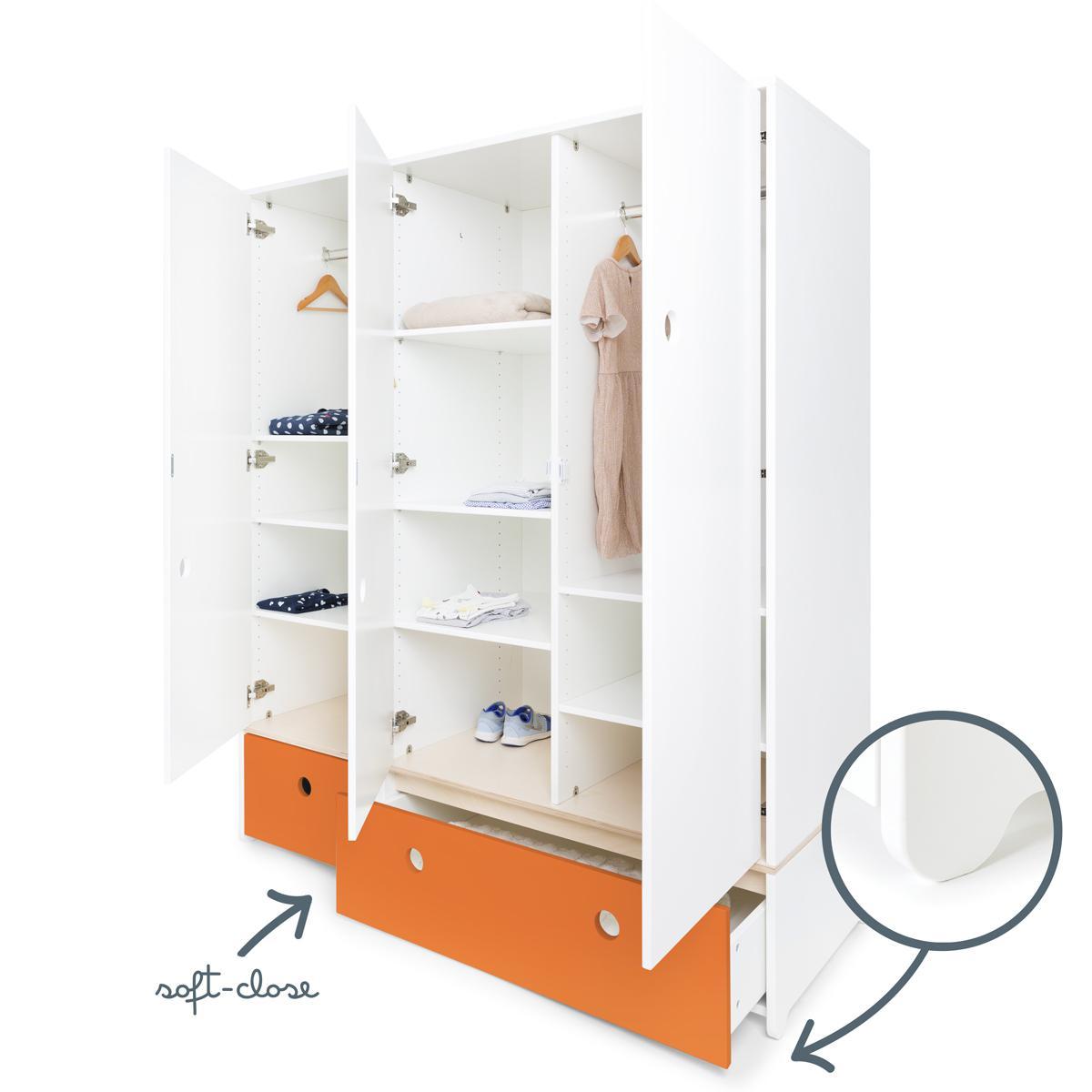 Armario 3 puertas COLORFLEX cajones frontales pure orange