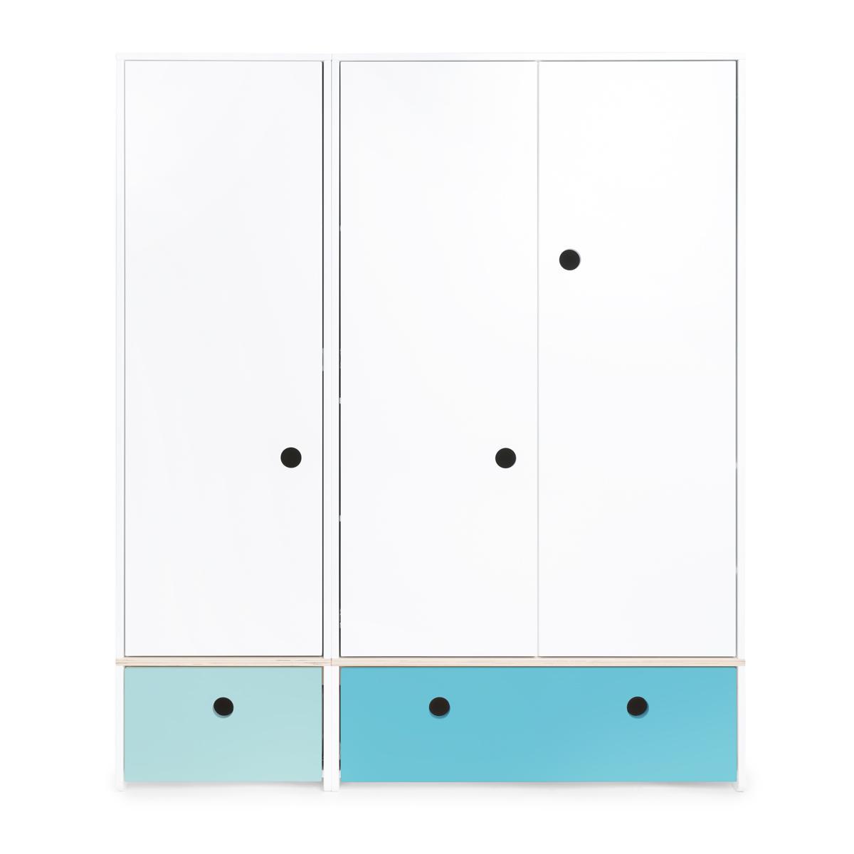 Armario 3 puertas COLORFLEX cajones frontales sky blue-paradise blue