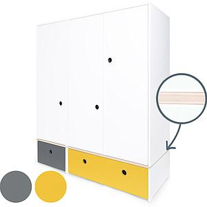 Armario 3 puertas COLORFLEX cajones frontales space grey-nectar yellow