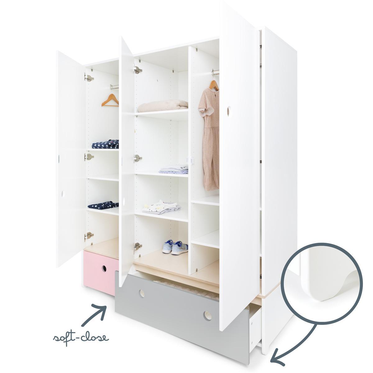 Armario 3 puertas COLORFLEX cajones frontales sweet pink-pearl grey