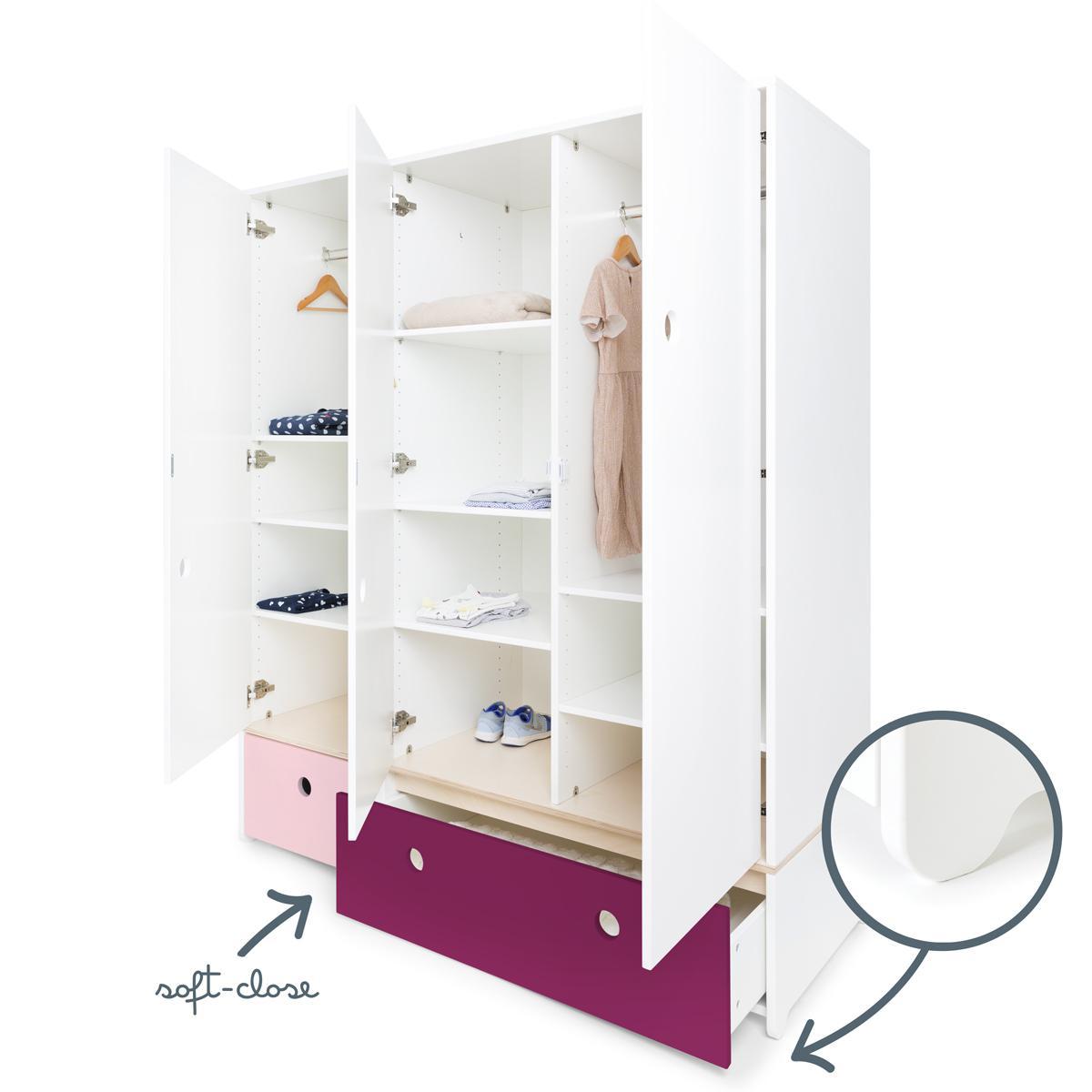 Armario 3 puertas COLORFLEX cajones frontales sweet pink-plum