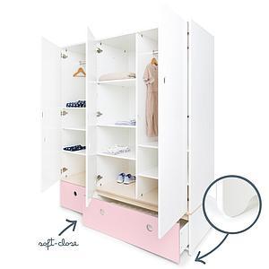 Armario 3 puertas COLORFLEX cajones frontales sweet pink