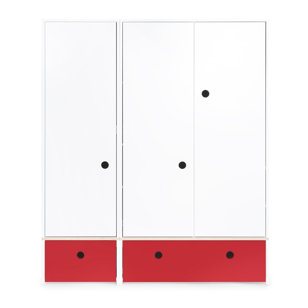 Armario 3 puertas COLORFLEX cajones frontales true red