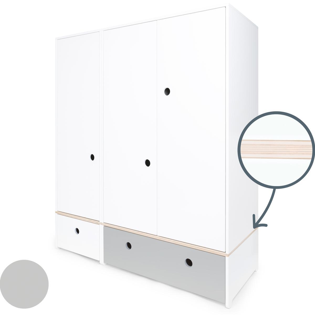 Armario 3 puertas COLORFLEX cajones frontales white-pearl grey