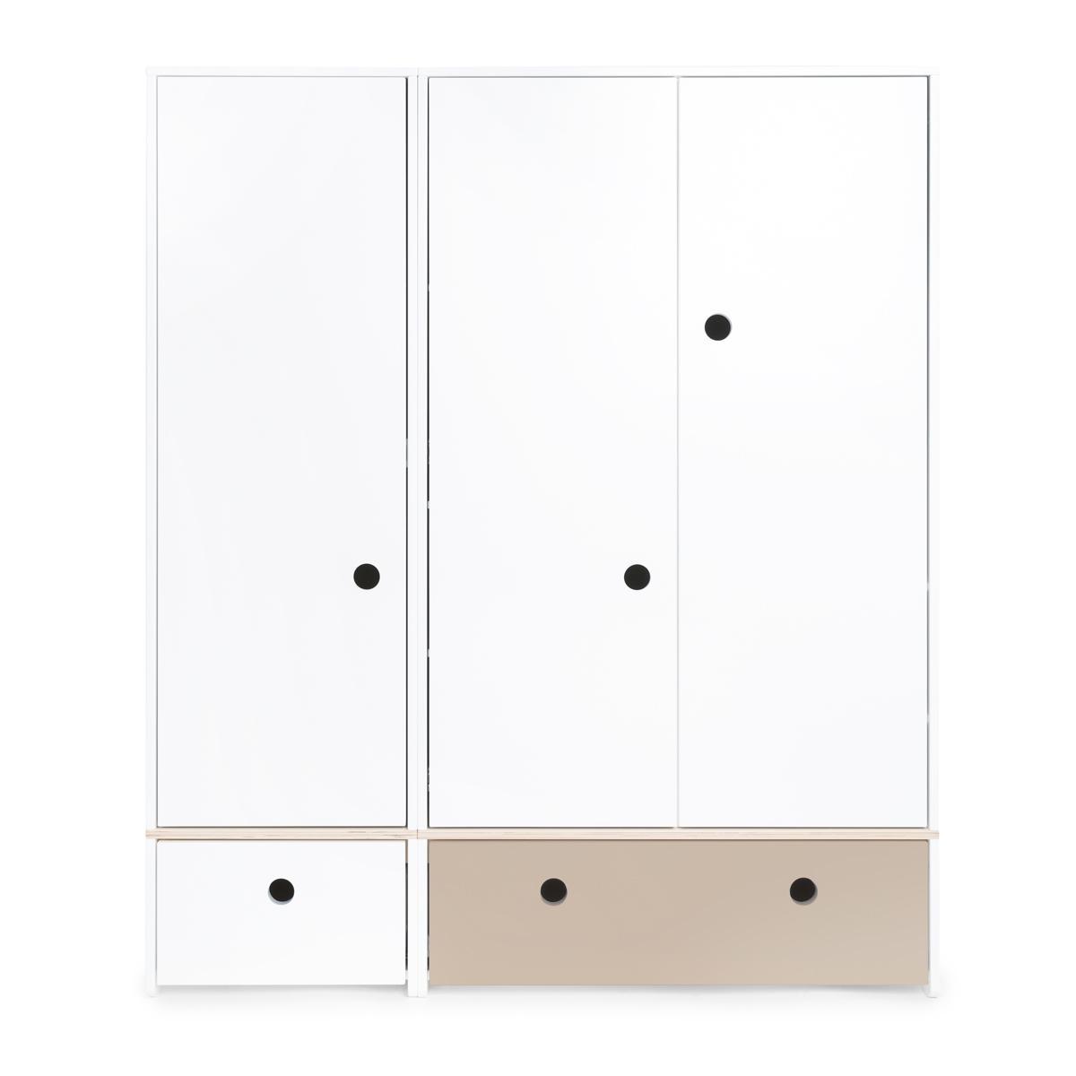 Armario 3 puertas COLORFLEX cajones frontales white-warm grey