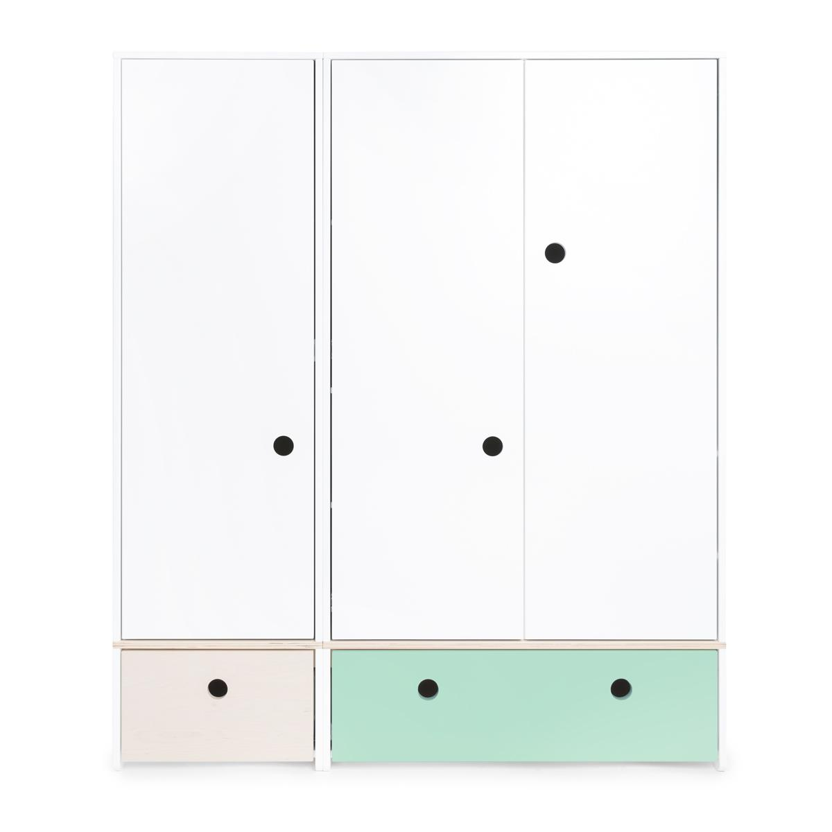 Armario 3 puertas COLORFLEX cajones frontales white wash-mint