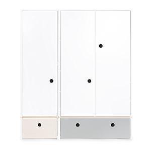 Armario 3 puertas COLORFLEX cajones frontales white wash-pearl grey