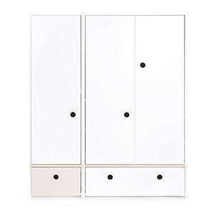 Armario 3 puertas COLORFLEX cajones frontales white wash-white