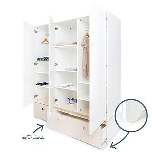 Armario 3 puertas COLORFLEX cajones frontales white wash