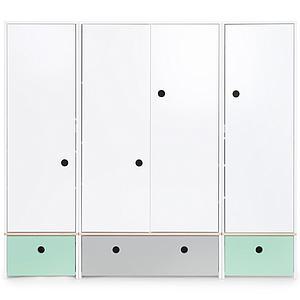 Armario 4 puertas COLORFLEX Abitare Kids cajones frontales mint-pearl grey-mint