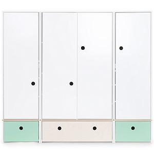 Armario 4 puertas COLORFLEX Abitare Kids cajones frontales mint-white wash-mint