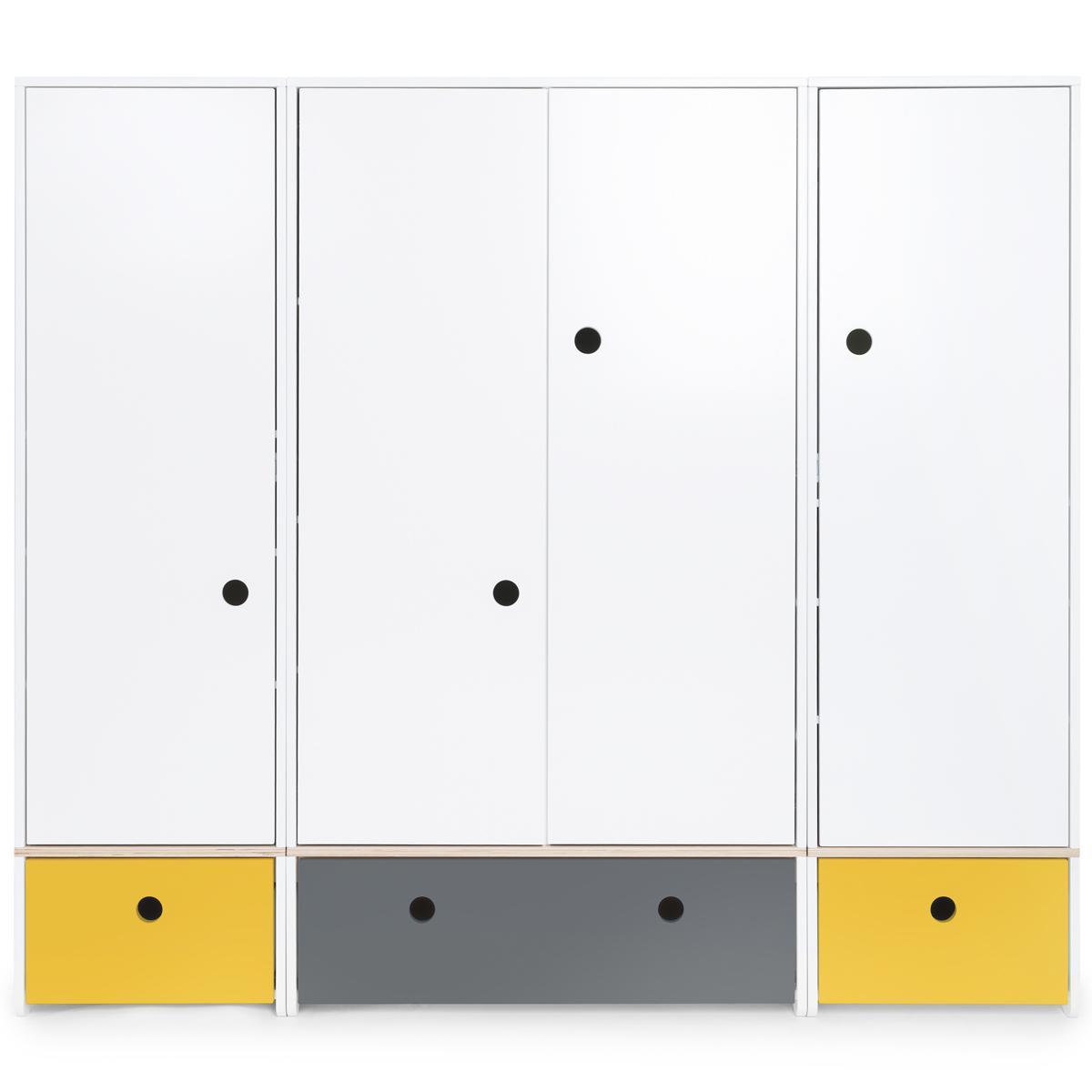 Armario 4 puertas COLORFLEX Abitare Kids cajones frontales nectar yellow-space grey-nectar yellow