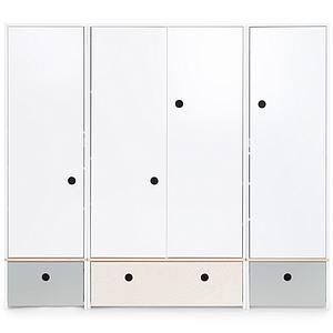 Armario 4 puertas COLORFLEX Abitare Kids cajones frontales pearl grey-white wash-pearl grey