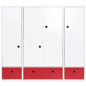 Armario 4 puertas COLORFLEX Abitare Kids cajones frontales true red