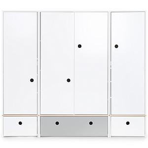 Armario 4 puertas COLORFLEX Abitare Kids cajones frontales white-pearl grey-white