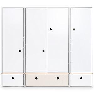 Armario 4 puertas COLORFLEX Abitare Kids cajones frontales white-white wash-white