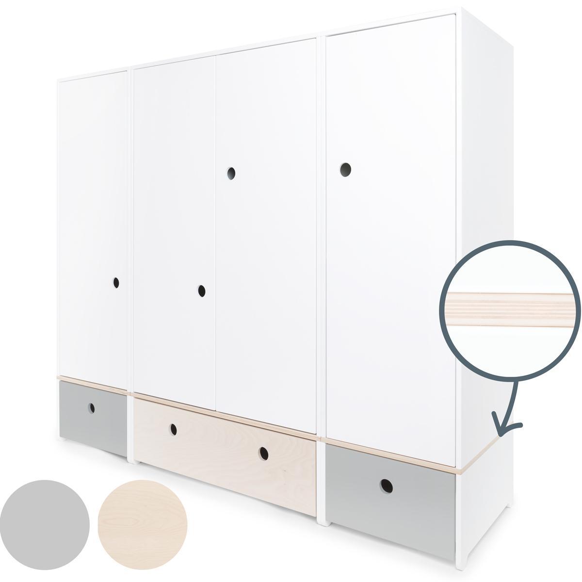 Armario 4 puertas COLORFLEX cajones frontales pearl grey-white wash-pearl grey