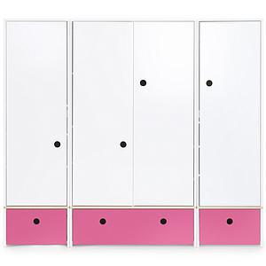 Armario 4 puertas COLORFLEX cajones frontales pink