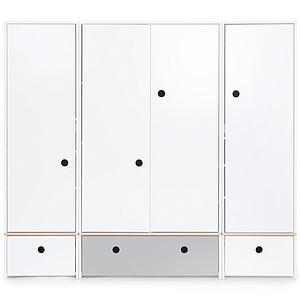 Armario 4 puertas COLORFLEX cajones frontales white-pearl grey-white