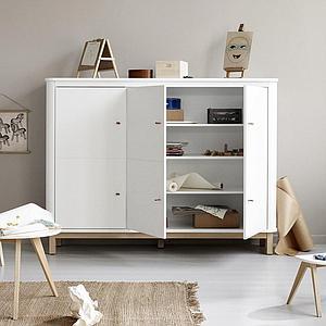 Armario bajo 3 puertas WOOD Oliver Furniture blanco-roble