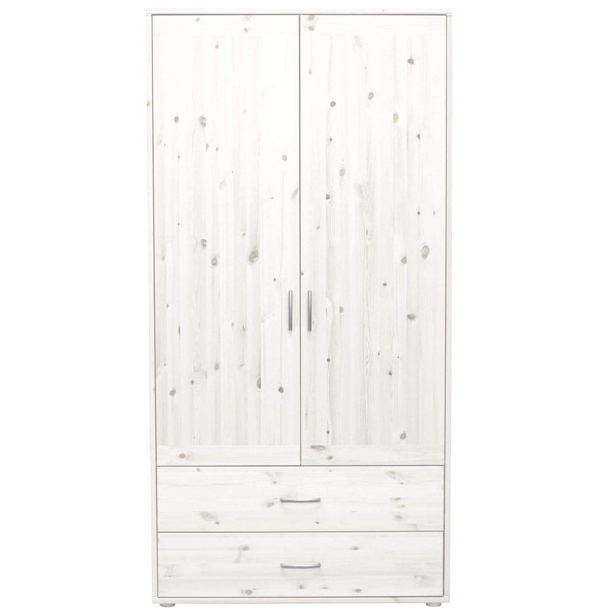 Armario infantil alto 2 puertas 2 cajones 3 estantes y 2 barras NEW CLASSIC Flexa blanco cal - blanco cal - blanco