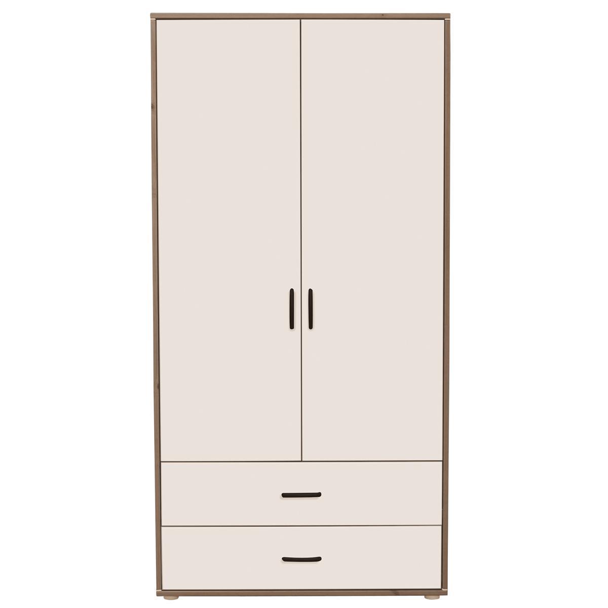 Armario infantil alto 2 puertas 2 cajones 3 estantes y 2 barras NEW CLASSIC Flexa terra - blanco - blanco