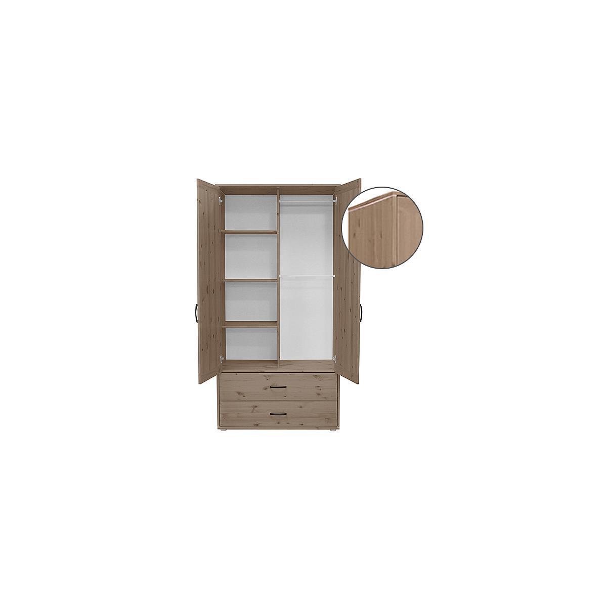 Armario infantil alto 2 puertas 2 cajones 3 estantes y 2 barras NEW CLASSIC Flexa terra - terra - blanco