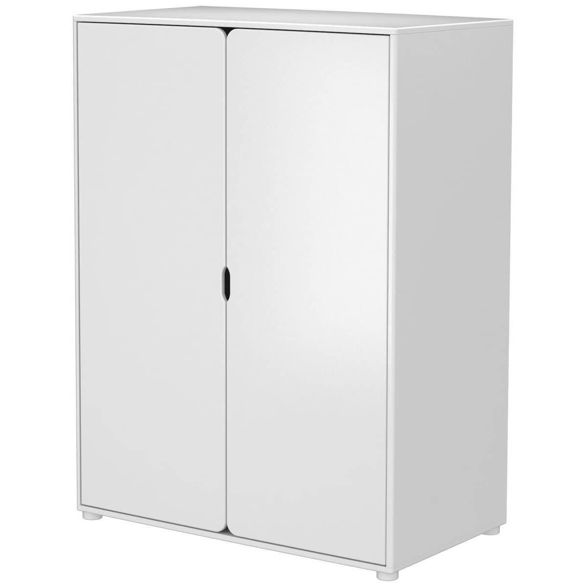 Armario infantil alto 2 puertas 4 estantes 1 barra CABBY Flexa blanco