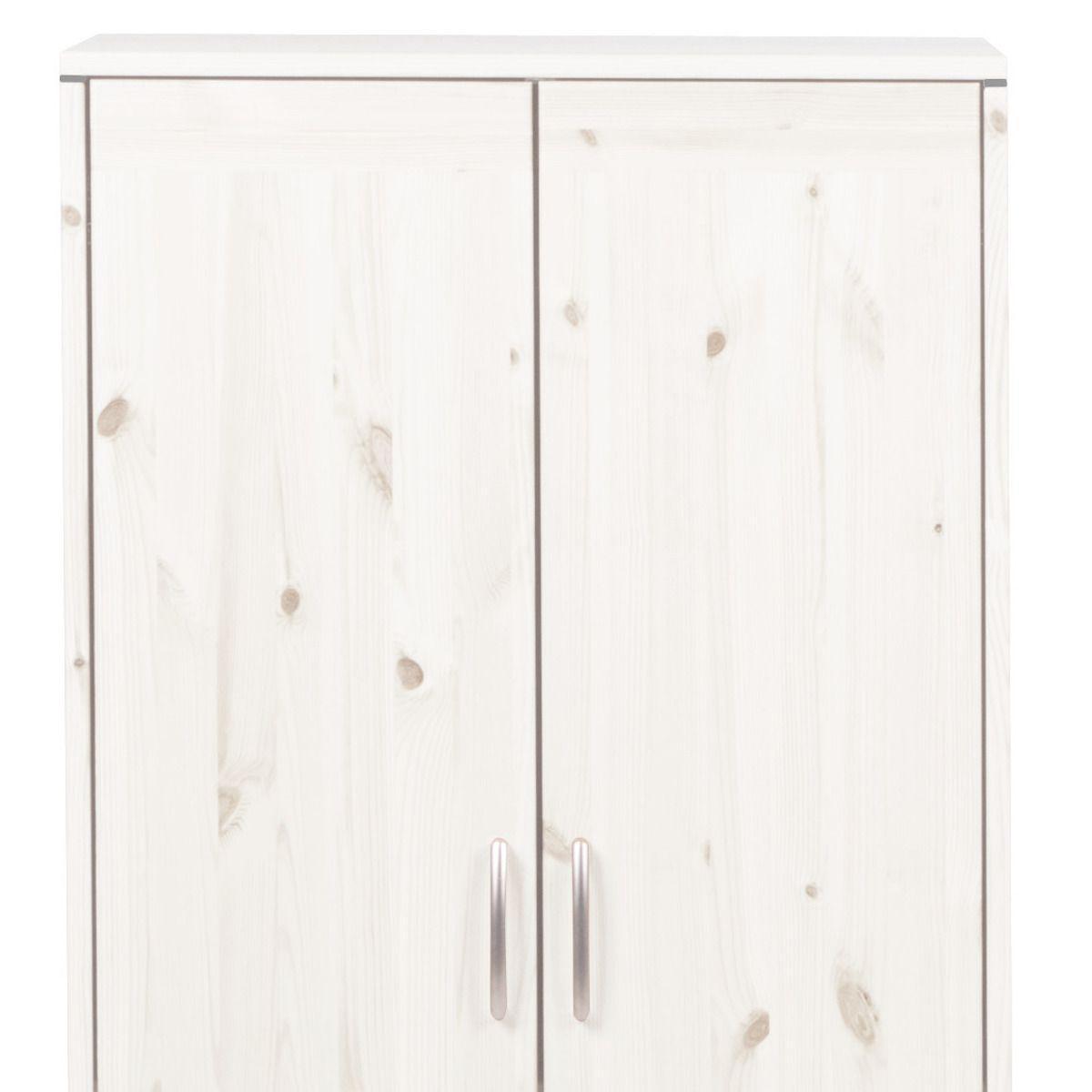 Armario infantil bajo 2 puertas 2 estantes NEW CLASSIC Flexa blanco cal - blanco cal - blanco