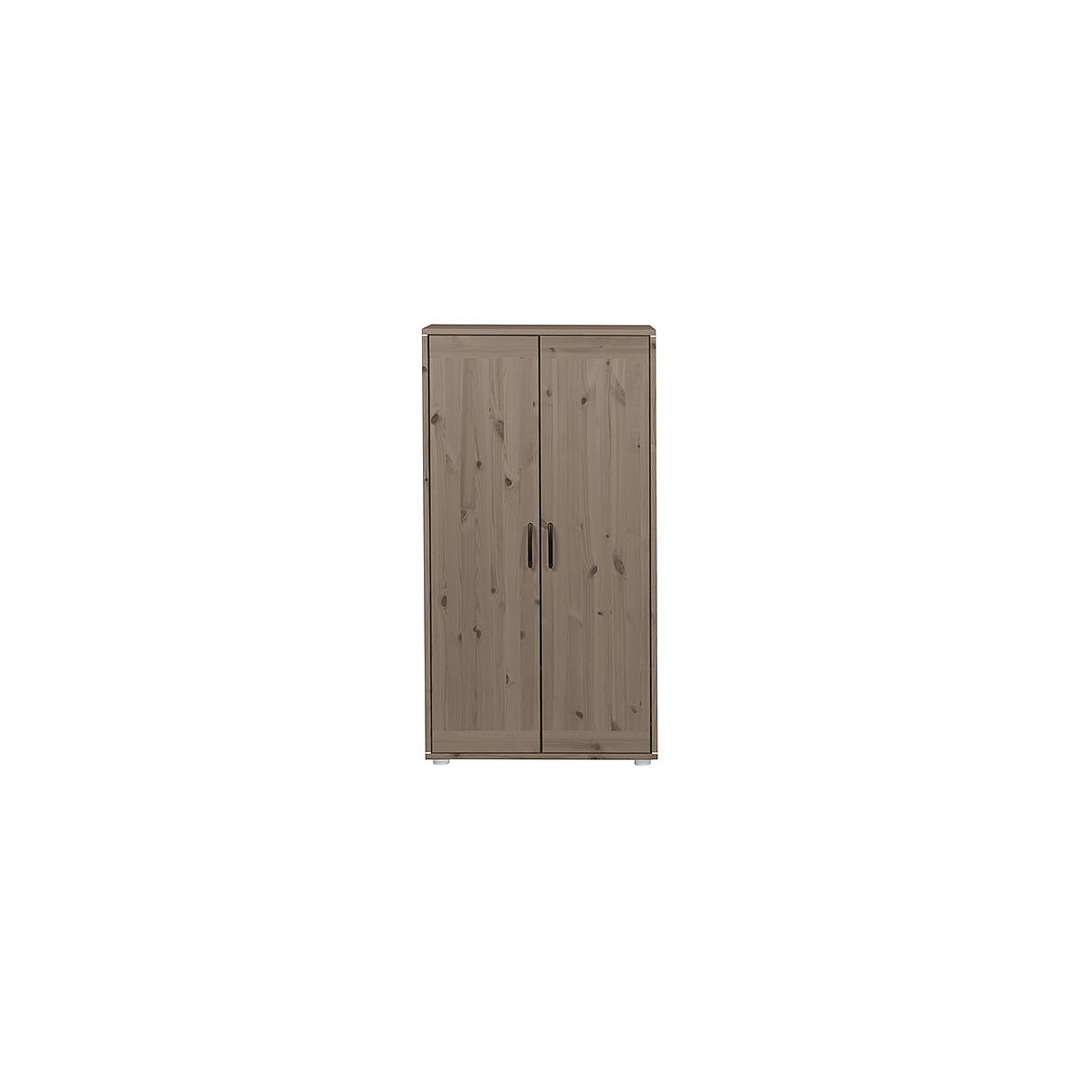 Armario infantil bajo 2 puertas 2 estantes NEW CLASSIC Flexa terra - terra - blanco