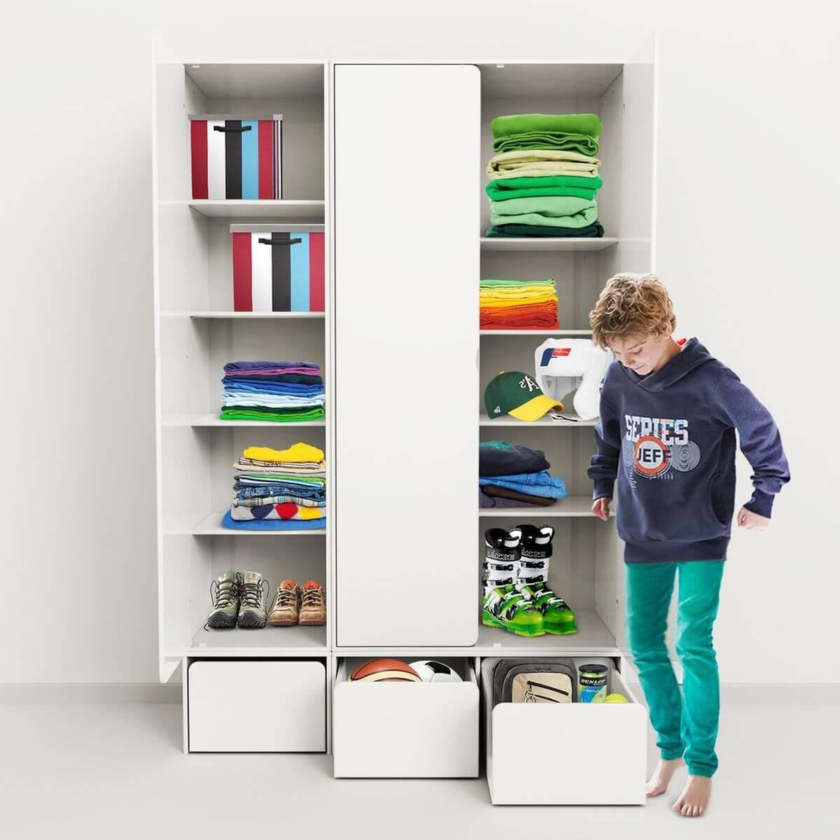 Armario infantil extra alto 1 puerta 4 estantes CABBY Flexa blanco
