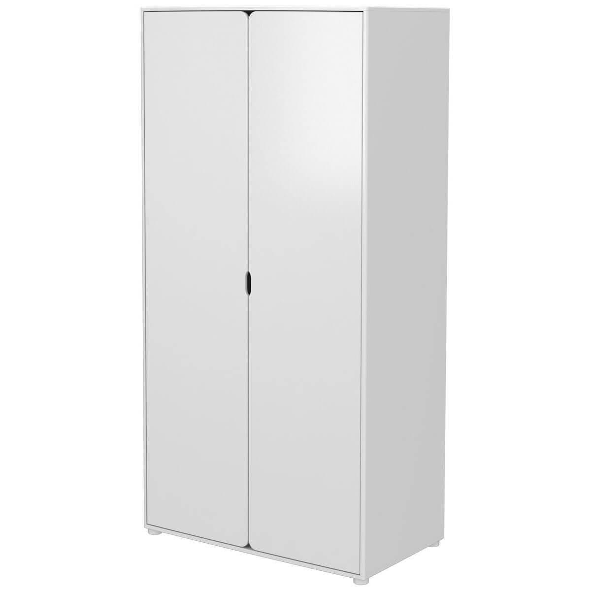 Armario infantil extra alto 2 puertas 4 estantes 1 barra CABBY Flexa blanco