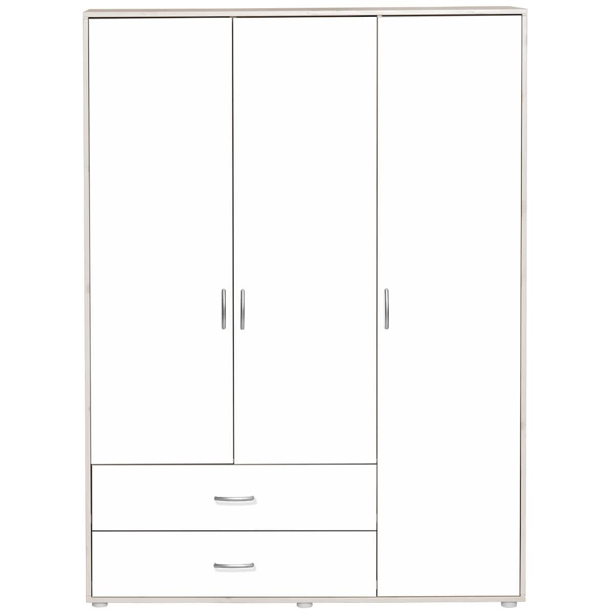 Armario infantil extra alto 3 puertas 2 cajones 4 estantes 2 barras NEW CLASSIC Flexa blanco cal - blanco - blanco