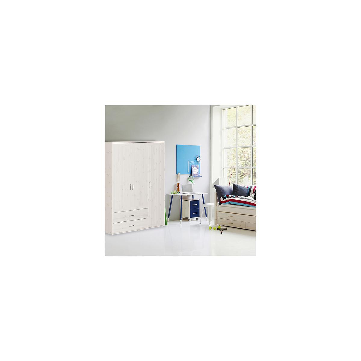 Armario infantil extra alto 3 puertas 2 cajones 4 estantes 2 barras NEW CLASSIC Flexa blanco cal - blanco cal - blanco