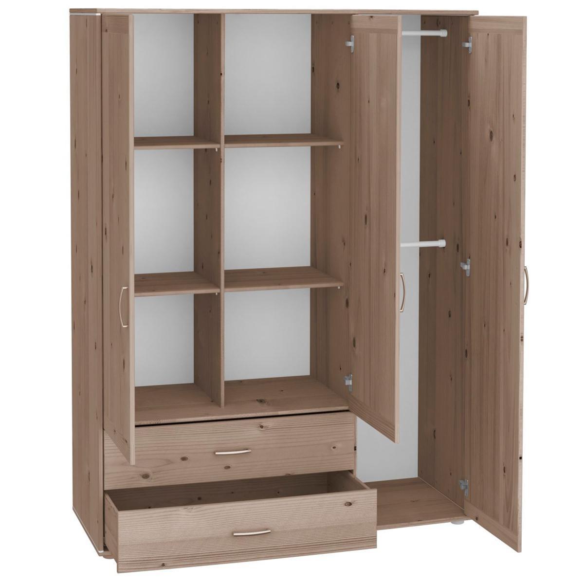 Armario infantil extra alto 3 puertas 2 cajones 4 estantes 2 barras NEW CLASSIC Flexa terra - terra - blanco