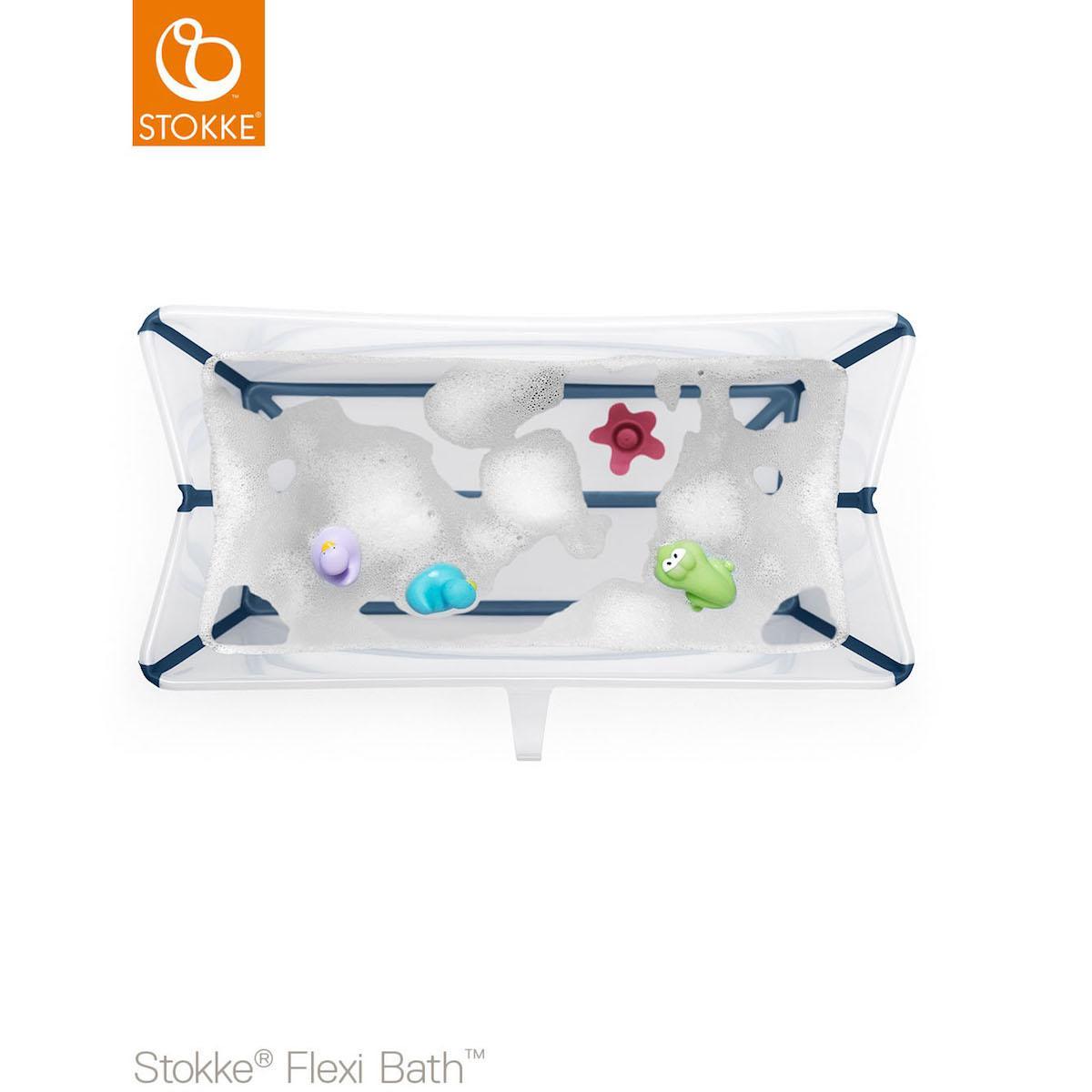 STOKKE Ba/ñera Plegable Stokke /® Flexi Bath CON SOPORTE para Reci/én Nacido transparente//azul