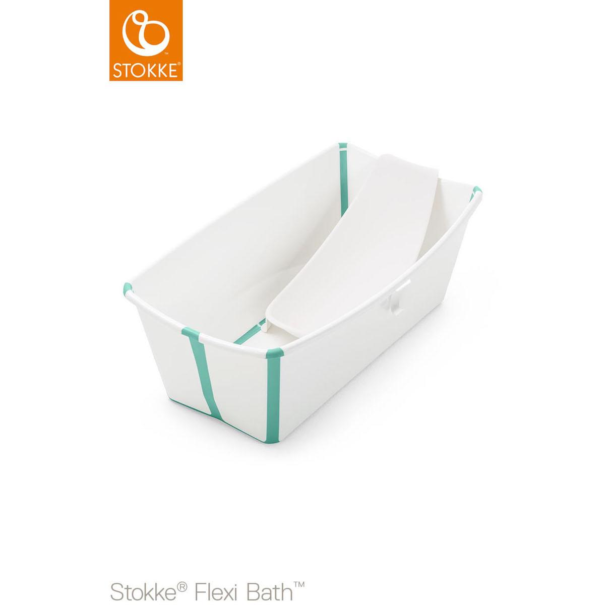 Bañera-soporte recién nacido FLEXI BATH Stokke blanco-aqua